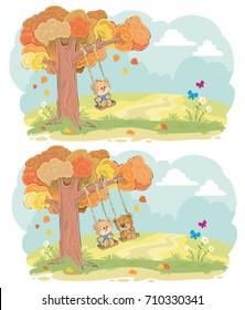 Cute teddy bears children swinging on tree swing on meadow cartoon vector set. Autumn romance, boy and girl friendship, tender romantic feeling concept for greeting card design, kids book illustration