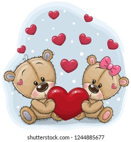 Cute Teddy Bears with heart on a blue background