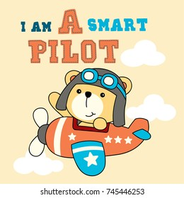 A Cute Teddy Cartoon Pilot