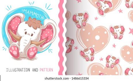 Cute teddy mammoth - pattern. Hand draw