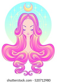 Cute teen girl with closed eyes and long hair. Mix of art nouveau and kawaii gothic style. Hipster, pastel goth, vibrant colors isolated. Vector illustration. Sticker, patch, poster graphic design.