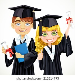 Cute teenage girl and boy in cap and gown graduate holding a scroll diploma