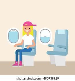 Cute teenage girl sitting in the plane / editable flat vector illustration