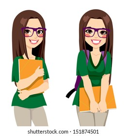 Cute teenage girl student with nerdy style glasses holding an orange folder ready to go back to school