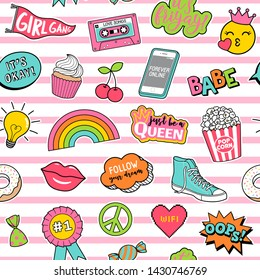 Cute teenage girls fashion patches seamless pattern on stripes background.