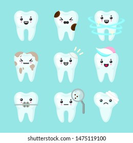 Cute teeth colorful set with different emotions. Different tooth conditions. Healthy and bad teeth. Cartoon vector tooth isolated illustration.