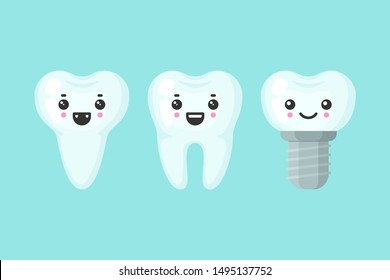 Cute teeth colorful set with different emotions. Different tooth form. Cartoon vector tooth isolated illustration.