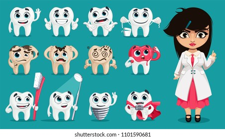 Cute teeth with different emotions. Dental concept for your design