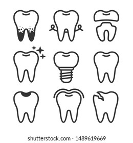 Cute teeth line style set with different tooth conditions. Healthy and bad teeth. Flat vector tooth isolated illustration.