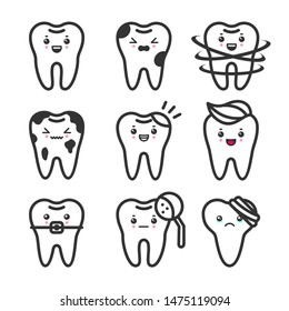 Cute teeth outline set with different emotions. Different tooth conditions. Healthy and bad teeth. Flat vector tooth isolated illustration.