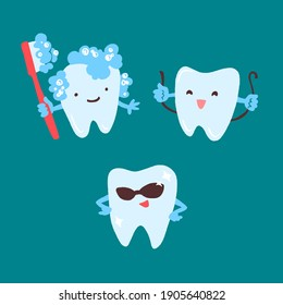 Cute teeth set. Hand drawn cartoon characters with different emotions. Vector illustration in flat trendy style isolated on turquoise background.