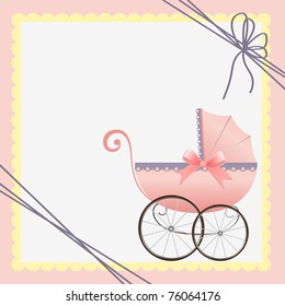 Cute template for baby arrival announcement card (EPS10)