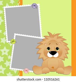 Cute template for postcard with young lion cartoon