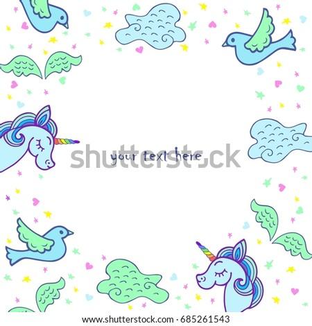 Unicorn Template   Cute Template Unicorn Wings Bird Cloud Stock Vector Royalty Free
