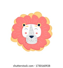 Cute and tender lion vector illustration isolated on white background. Kawaii, doodle style sticker, icon, emoji. Hand drawn cute print for posters, cards, t-shirts, newborn, children.