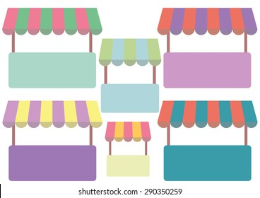 Cute tents set vector