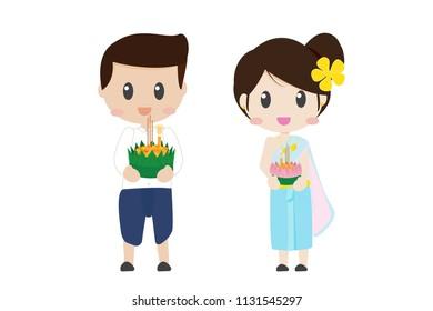 cute Thai couple on floating flowers Loy Krathong festival on white background isolated eps10 vector illustration