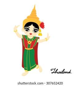 Cute Thai girl wearing thai dance dress on white background. Thai dance (Chuichai). Vector illustration.
