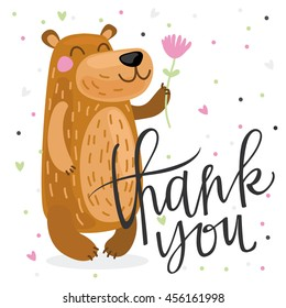 Cute thank you card with bear