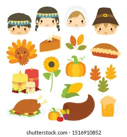 Cute Thanksgiving characters and Thanksgiving elements vector collection. Thanksgiving Pilgrims and Natives cartoon characters vector illustration