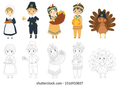 Cute Thanksgiving characters and turkeys vector collection. Coloring page for kids cartoon vector