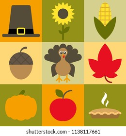 Cute Thanksgiving and harvest icons Easy to edit.