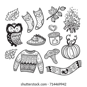 Cute Thanksgiving set with autumn elements in outline. Owl, pumpkin and coffee, bonfire, socks, sweater and other. Ink vector collection in childish style great for coloring book