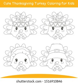 Cute Thanksgiving Turkeys coloring page for kids, cartoon vector. Cute turkey characters coloring for children