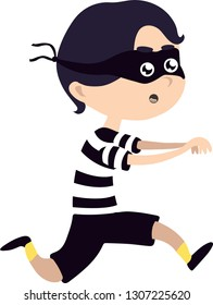 Cute thief character. Vector cartoon illustration. Robber in mask.