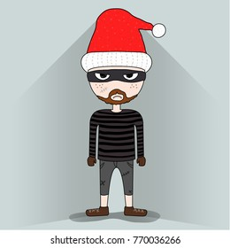 cute Thief with Santa Claus hat makes angry face, criminal pretend to be Santa, disguised criminal concept, illustration vector eps 10