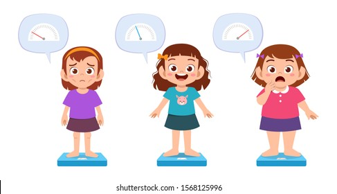 cute thin fit fat kids girls use weight scale vector