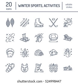Cute thin line icons of winter sports. Outdoor activities vector elements - snowboard, hockey sled, skates, snow tubing, ice kiting. Linear pictogram editable stroke for equipment rent ski resort