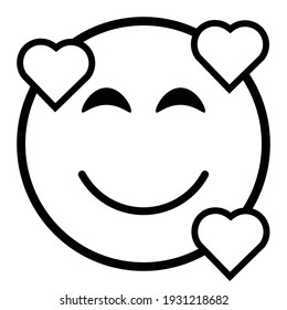 Cute thin line smiling with hearts emoji face. Royalty free and fully editable.