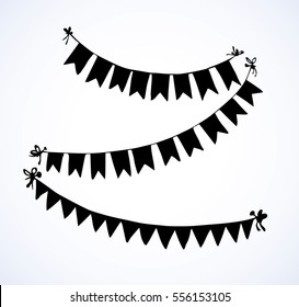 Cute tied pennants isolated on white backdrop. Dark ink hand drawn picture sketchy in retro engraving style