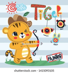 Cute tiger archer hunting wearing cowboy hat and holding a bow and an arrow with three targets on striped background illustration vector.