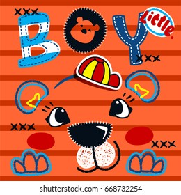 Cute tiger boy head on striped background illustration vector, design for kids t-shirt.
