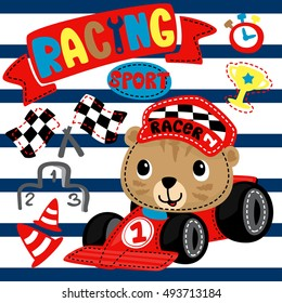 Cute tiger cartoon driving a race car on navy blue lined illustration. /Vector print for children wear.