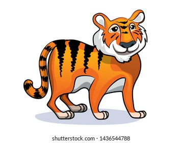 Cute tiger in cartoon style. Good print and element for your design