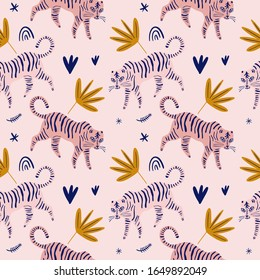 Cute tiger cat seamless pattern vector print, nursery illustration in scandinavian style, animal pink skin repeat design, kids wrapping paper template