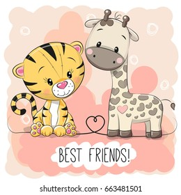 Cute Tiger and Giraffe on a pink background
