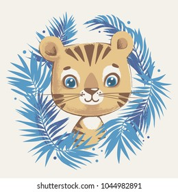 Cute tiger in the jungle cartoon hand drawn vector illustration. Can be used for t-shirt print, kids wear fashion design, baby shower invitation card.
