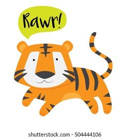 Cute tiger roaring vector stock