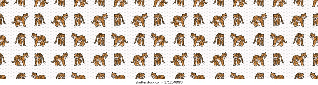 Cute tiger seamless vector border. Hand drawn striped big cat for safari jungle illustration. Bengal tiger on stripe background all over print. Wildcat tile.