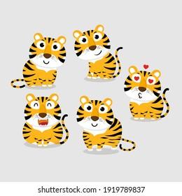Cute tiger vector collection. Animal wildlife cartoon character set.