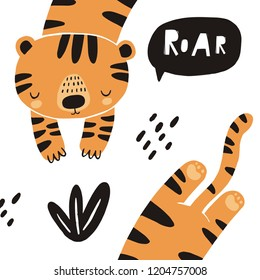 Cute tiger vector illustration. Hand drawn cute print for posters, cards, t-shirts.