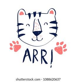 Cute tiger vector illustration for t-shirt design with slogan. Vector illustration design for fashion fabrics, textile graphics, prints.