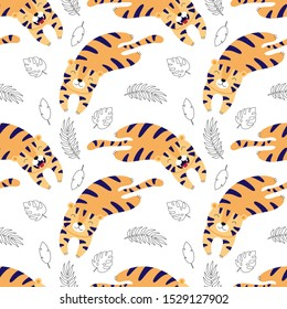 Cute tigers lay, cartoon vector seamless pattern for children. Print for textile, fabric, wallpaper, paper.