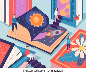 Cute tiny people reading different books, giant textbooks. Concept of book world, readers at library, literature lovers or fans. Colorful vector illustration in flat cartoon style