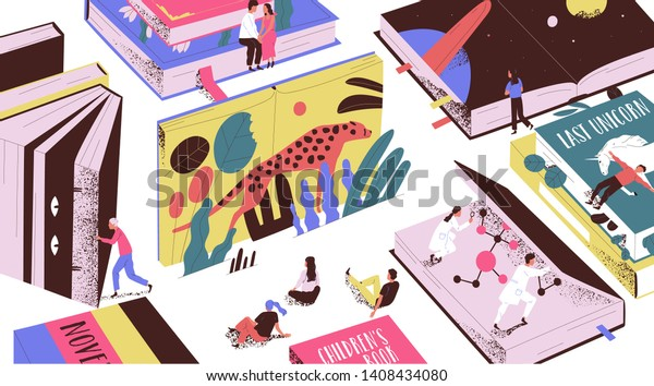 Cute tiny people reading fairytales, science fiction, giant textbooks. Concept of book world, readers at library, literature lovers or fans. Colorful vector illustration in modern flat cartoon style.