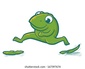 Cute toad character hopping on lily pads/Leaping Frog Vector